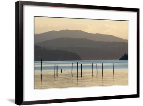Coeur D'Alene Lake at Dusk-Nick Dale-Framed Art Print
