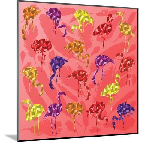 Colorful Flamingo Bird Silhouettes Illustration Collection Vector-Kristaps Eberlins-Mounted Art Print