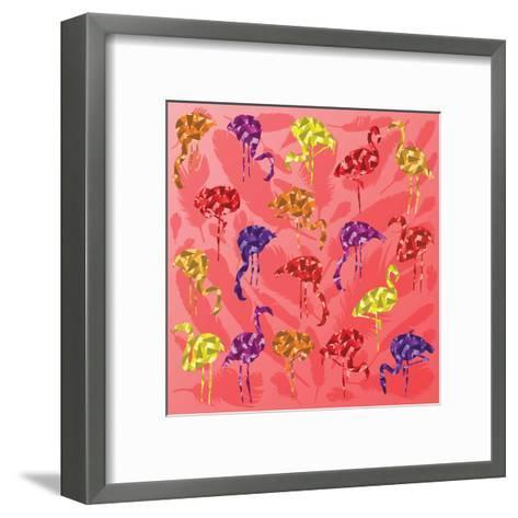Colorful Flamingo Bird Silhouettes Illustration Collection Vector-Kristaps Eberlins-Framed Art Print