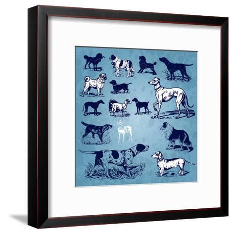 Dogs Vintage- Milalala-Framed Art Print
