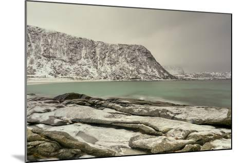 Haukland Beach in the Lofoten Islands, Norway in the Winter at Dusk-Felix Lipov-Mounted Photographic Print
