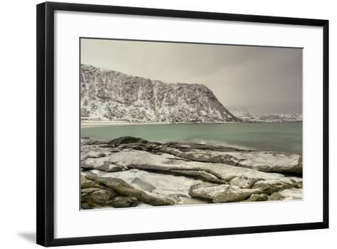 Haukland Beach in the Lofoten Islands, Norway in the Winter at Dusk-Felix Lipov-Framed Art Print