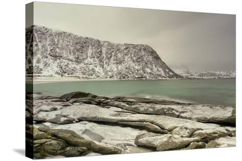 Haukland Beach in the Lofoten Islands, Norway in the Winter at Dusk-Felix Lipov-Stretched Canvas Print