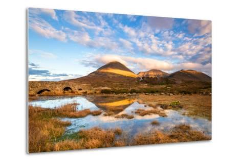 Reflections on a Lochan at Sligachan Bridge on the Isle of Skye, Scotland UK-Tracey Whitefoot-Metal Print