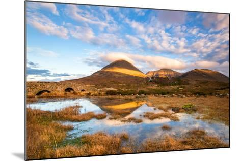 Reflections on a Lochan at Sligachan Bridge on the Isle of Skye, Scotland UK-Tracey Whitefoot-Mounted Photographic Print