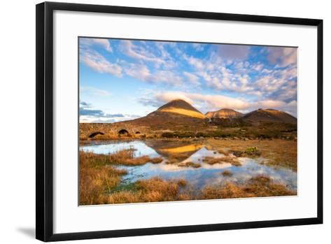 Reflections on a Lochan at Sligachan Bridge on the Isle of Skye, Scotland UK-Tracey Whitefoot-Framed Art Print