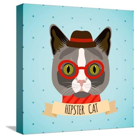 Hipster Cat Portrait-Macrovector-Stretched Canvas Print