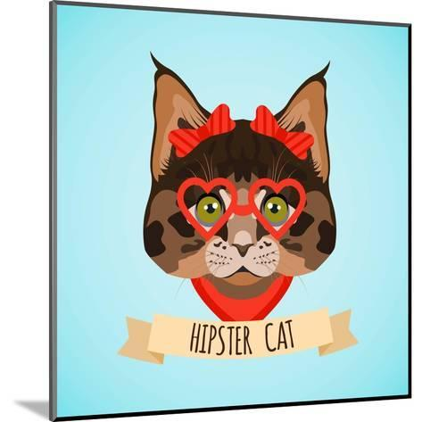 Hipster Cat Portrait-Macrovector-Mounted Art Print