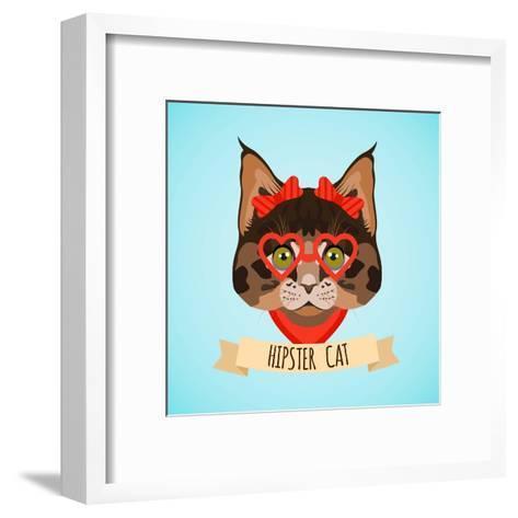 Hipster Cat Portrait-Macrovector-Framed Art Print
