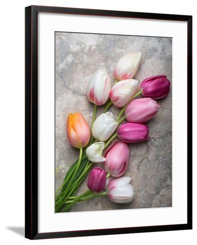 French Tulips on Stone Table-Georgianna Lane-Framed Art Print