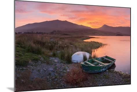 The Sun Rises Behind Mount Snowdon Creating a Beautiful Orange Sky-John Greenwood-Mounted Photographic Print