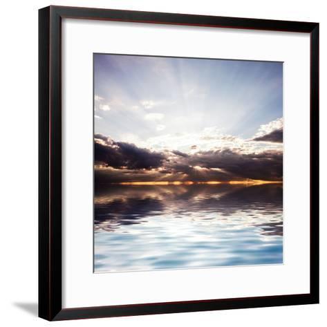 Sunset at the Sea. Beautiful Nature: Water and Sky-Oksana Kovach-Framed Art Print