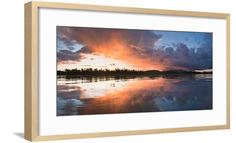 Sunset at Mouth of Androscoggin River and Magalloway River at Lake Umbagog, New Hampshire, USA- Huntstock-Framed Art Print