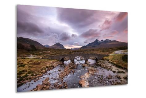 Sunset at Sligachan Bridge, Isle of Skye Scotland UK-Tracey Whitefoot-Metal Print