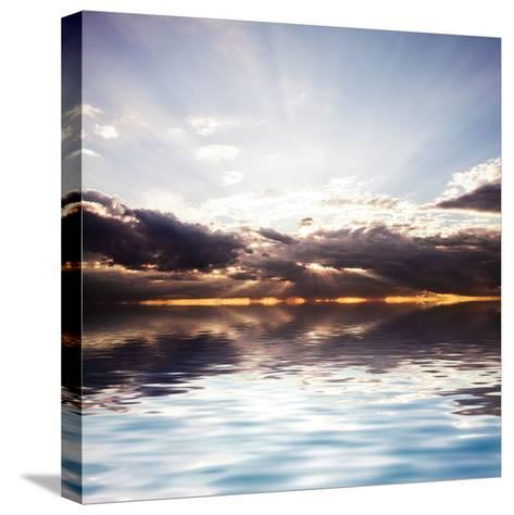 Sunset at the Sea. Beautiful Nature: Water and Sky-Oksana Kovach-Stretched Canvas Print