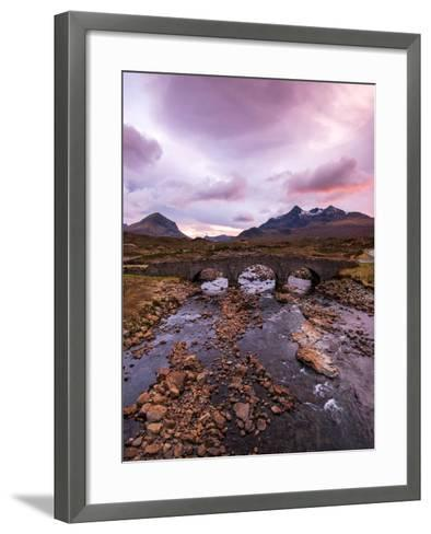 Sunset at Sligachan Bridge, Isle of Skye Scotland UK-Tracey Whitefoot-Framed Art Print
