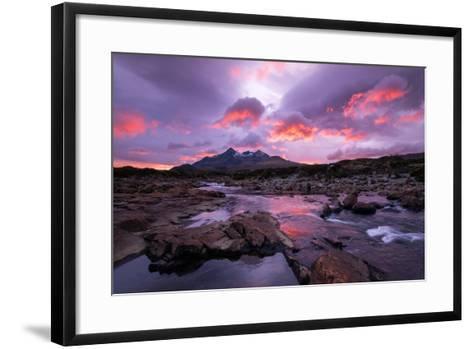 Sunset at Sligachan on the Isle of Skye, Scotland UK-Tracey Whitefoot-Framed Art Print