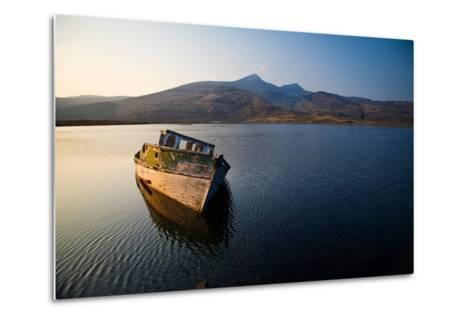 Wreck of Old Wooden Boat, Loch Scridain, Isle of Mull with Ben More-Doug Horrigan-Metal Print