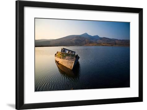 Wreck of Old Wooden Boat, Loch Scridain, Isle of Mull with Ben More-Doug Horrigan-Framed Art Print