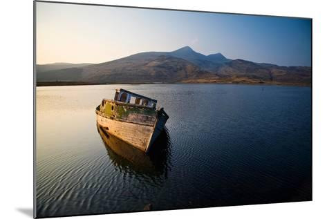 Wreck of Old Wooden Boat, Loch Scridain, Isle of Mull with Ben More-Doug Horrigan-Mounted Photographic Print