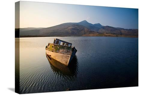 Wreck of Old Wooden Boat, Loch Scridain, Isle of Mull with Ben More-Doug Horrigan-Stretched Canvas Print