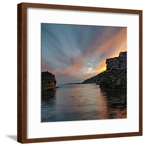 Sunset from Portwrinkle Harbour Se Cornwall-Jonathan Somers-Framed Art Print