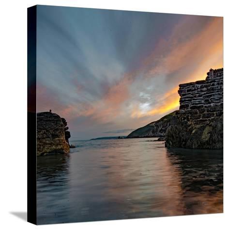 Sunset from Portwrinkle Harbour Se Cornwall-Jonathan Somers-Stretched Canvas Print