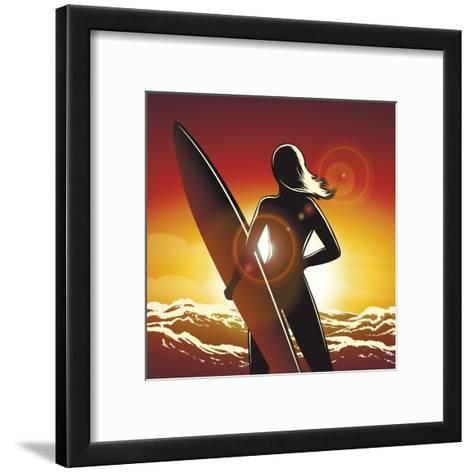 Young Surfer Girl with a Long Board on a Summer Beach-Olena Bogadereva-Framed Art Print