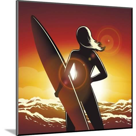 Young Surfer Girl with a Long Board on a Summer Beach-Olena Bogadereva-Mounted Art Print