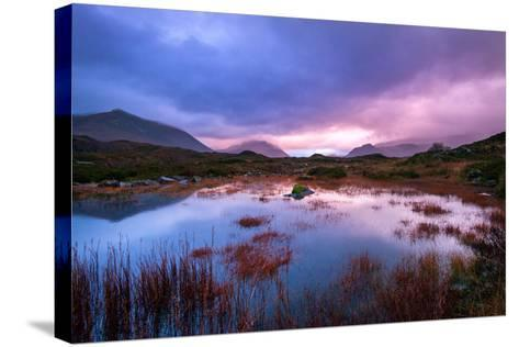 Sunset on a Lochan at Sligachan on the Isle of Skye, Scotland UK-Tracey Whitefoot-Stretched Canvas Print
