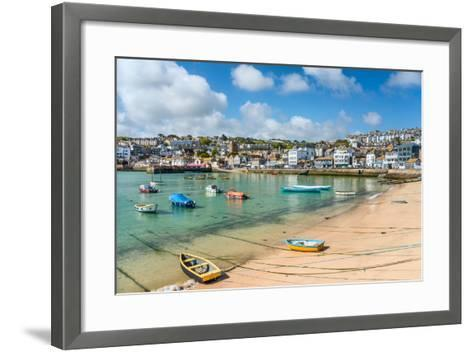 View over the Fishing Harbour of St Ives, Seen from Smeatons Pier, Cornwall, England, UK- Travelbild-Framed Art Print
