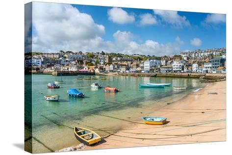View over the Fishing Harbour of St Ives, Seen from Smeatons Pier, Cornwall, England, UK- Travelbild-Stretched Canvas Print