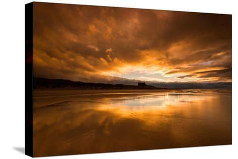 Sunset on the Beach at Bamburgh, Northumberland England UK-Tracey Whitefoot-Stretched Canvas Print