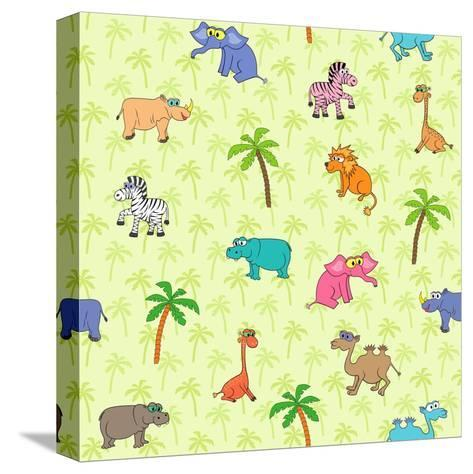 Seamless Different South Animals and Plants Pattern with Cartoon Elephant, Camel, Hippopotamus-Nataliia Vzyshnevska-Stretched Canvas Print