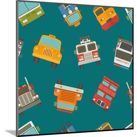 Seamless Cars and Pattern- Ratch-Mounted Art Print