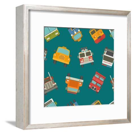 Seamless Cars and Pattern- Ratch-Framed Art Print