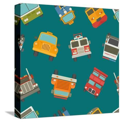 Seamless Cars and Pattern- Ratch-Stretched Canvas Print