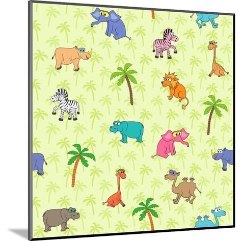 Seamless Different South Animals and Plants Pattern with Cartoon Elephant, Camel, Hippopotamus-Nataliia Vzyshnevska-Mounted Art Print