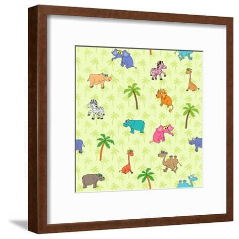 Seamless Different South Animals and Plants Pattern with Cartoon Elephant, Camel, Hippopotamus-Nataliia Vzyshnevska-Framed Art Print