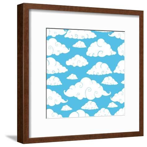 Seamless Cloud Pattern- Robin2-Framed Art Print