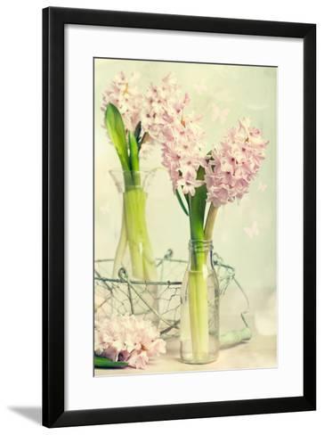 Spring Hyacinth Flowers in Vintage Glass Bottles-Amd Images-Framed Art Print