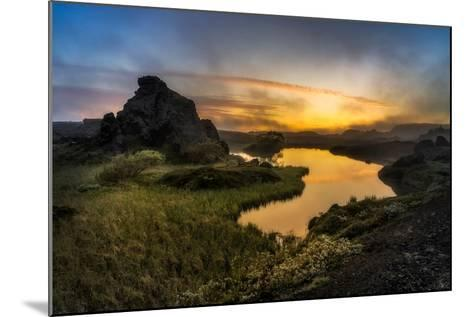 Sunset over Lake Myvatn, Northern Iceland-Ragnar Th Sigurdsson-Mounted Photographic Print