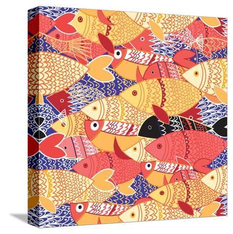 Seamless Pattern of Bright Fish-Tatiana Korchemkina-Stretched Canvas Print