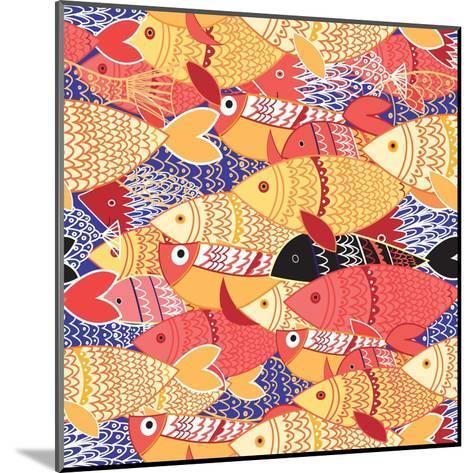 Seamless Pattern of Bright Fish-Tatiana Korchemkina-Mounted Art Print