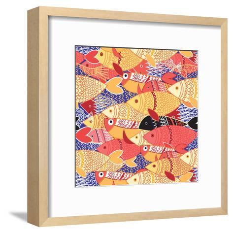 Seamless Pattern of Bright Fish-Tatiana Korchemkina-Framed Art Print