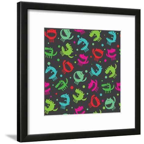 Seamless Pattern with Monsters Illustration-Alexey Mishin-Framed Art Print