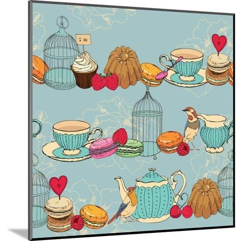 Seamless Pattern with Tea, Cage, Coffee Pot, Cup, Jelly, Cherry, Berry, Macaroon-Tatsiana Tsyhanova-Mounted Art Print