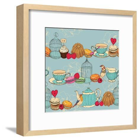 Seamless Pattern with Tea, Cage, Coffee Pot, Cup, Jelly, Cherry, Berry, Macaroon-Tatsiana Tsyhanova-Framed Art Print