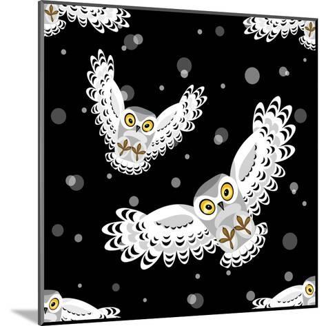 Seamless Pattern with Flying Polar Owls-Viktoriia Debopre-Mounted Art Print