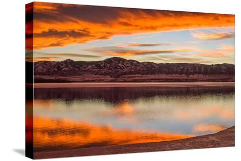 Sunset Spring Mountain Lake - Colorful Stormy Clouds Rolling over a Melting Ice Lake-Sean Xu-Stretched Canvas Print